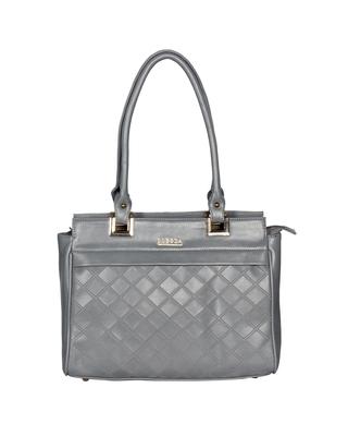 Esbeda Grey Color Solid Pattern Textured Handbag For Women