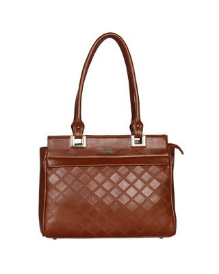 Esbeda Tan Color Solid Pattern Textured Handbag For Women