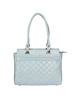 Esbeda Sku Blue Color Solid Pattern Textured Handbag For Women
