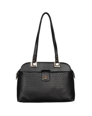 Esbeda Black Color Solid Pattern Textured Handbag For Women
