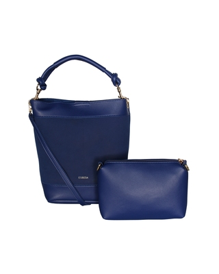 Esbeda Blue Color Solid Pattern Suede handbag with pouch For Women