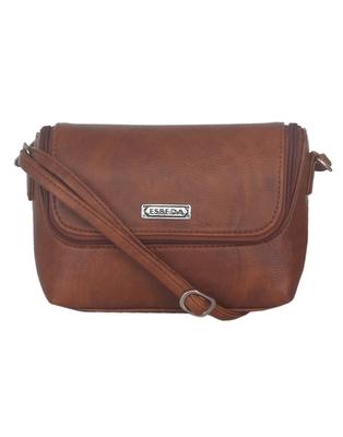 Esbeda Brown color Solid Slingbag for womens