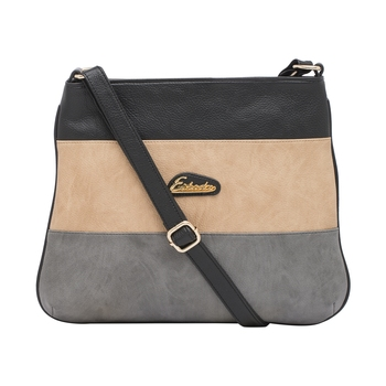 Esbeda Black Color Stripe Pu Synthetic Material Slingbag For Women