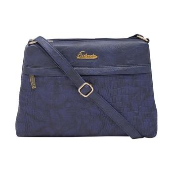 Esbeda D-Blue Color Stripe Pu Synthetic Material Slingbag For Women