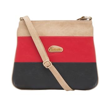 Esbeda Beige Color Stripe Pu Synthetic Material Slingbag For Women