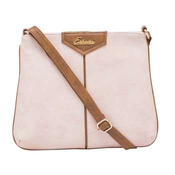 Esbeda Pink Color Stripe Pu Synthetic Material Slingbag For Women