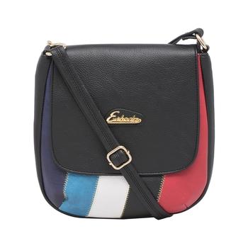 Esbeda Black Color Stripe Pu Synthetic Material Slingbag For Women