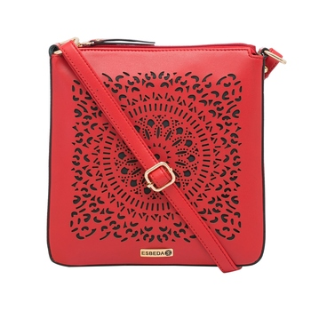 Esbeda Red Cutwork Pu Synthetic Material Slingbag For Women