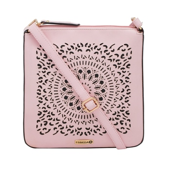 Esbeda Pink Cutwork Pu Synthetic Material Slingbag For Women