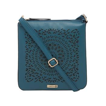 Esbeda D-Blue Cutwork Pu Synthetic Material Slingbag For Women