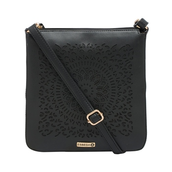 Esbeda Black Cutwork Pu Synthetic Material Slingbag For Women