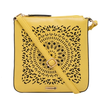 Esbeda Yellow Cutwork Pu Synthetic Material Slingbag For Women