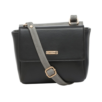 Esbeda Black-Grey Solid Pu Synthetic Material Two Sided Slingbag For Women