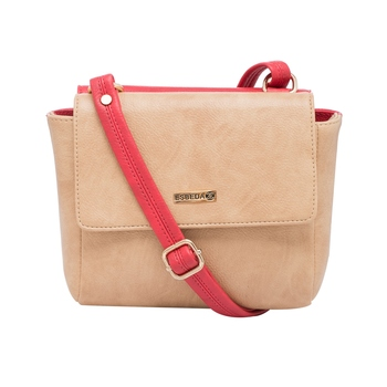 Esbeda Red-Beige Solid Pu Synthetic Material Two Sided Slingbag For Women