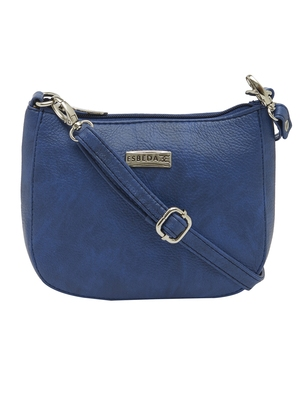 Esbeda Dark Blue Color Solid Pu Synthetic Material Slingbag For Women