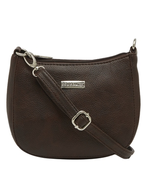 Esbeda Dark Brown Color Solid Pu Synthetic Material Slingbag For Women