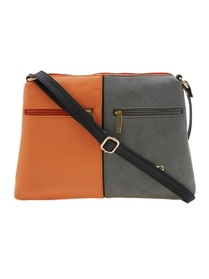 Esbeda Orange Color Solid Pu Synthetic Material Slingbag For Women