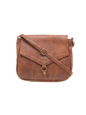 Esbeda Tan Solid Pu Synthetic Material Slingbag For Women