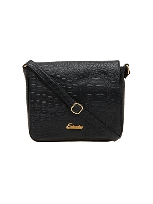 Esbeda Black Textured Pu Synthetic Material Slingbag For Women