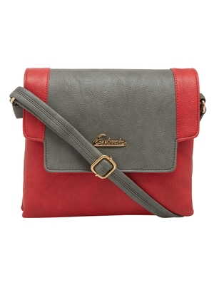Esbeda Red Solid Pu Synthetic Material Slingbag For Women
