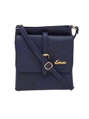 Esbeda Blue Solid Pu Synthetic Material Slingbag For Women