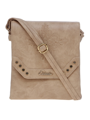 Esbeda Beige Solid Pu Synthetic Material Slingbag For Women