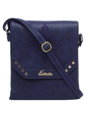 Esbeda D-Blue Solid Pu Synthetic Material Slingbag For Women