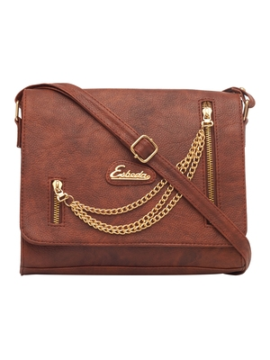 Esbeda Tan Color Solid Pu Synthetic Fabric Slingbag For Women