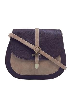 Esbeda Dark Brown & Beige Solid Pu Synthetic Fabric Slingbag For Women