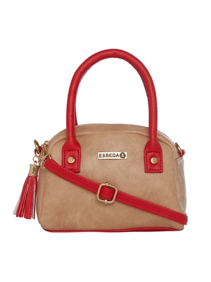 Esbeda Beige & Red Solid PU Synthetic Slingbag For Women
