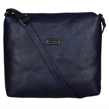 Esbeda Solid Dark Blue PU Synthetic Slingbag For Women's