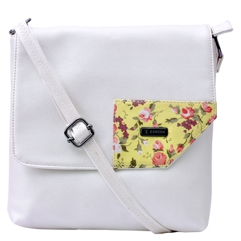 Esbeda Off-white Color Medium Size Floral Metallic Slingbag