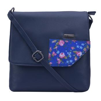 Esbeda Blue Color Medium Size Floral Metallic Slingbag