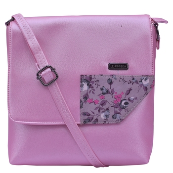 Esbeda Pink Color Medium Size Floral Metallic Slingbag