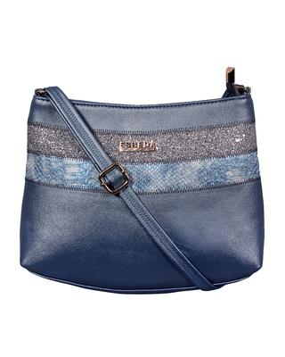 Esbeda Blue Color Medium Size Chunky Glitter Slingbag For Womens