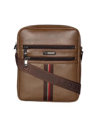 Esbeda Khaki Color Solid Rodeo Crossbody Sling bag For Men