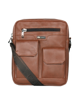 Esbeda Tan Color Solid Camaro Crossbody Sling bag For Men