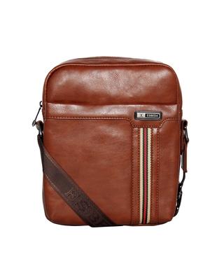 Esbeda Tan Color PU Solid Crossbody Sling Bag For Mens