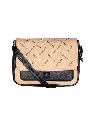 Esbeda Black Color solid Ball stud Sling Bag For Women