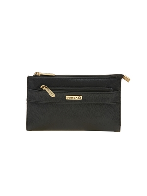 Esbeda Black Solid Pu Synthetic Material Wallet For Women