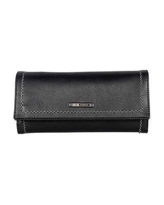 Esbeda Black Color Small Size Solid Holo Trifold wallet For Women