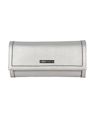 Esbeda Silver Color Small Size Solid Holo Trifold wallet For Women