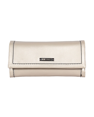 Esbeda Cream Color Small Size Solid Holo Trifold wallet For Women