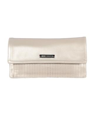 Esbeda Cream Color Small Size Solid Flapover Wallet For Women