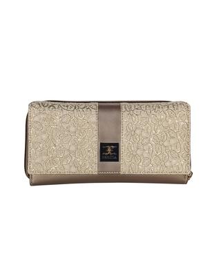 Esbeda Dark Gold Color Solid Pattern Zardosi Wallet For Women