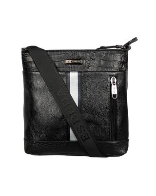 Esbeda Black Color Mediums Size Croco Stripe Sling bag For Mens And Women.