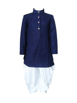 Kids Blue Cotton Kurta Pyjama For Boys