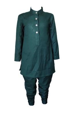 Kids Green Cotton Kurta Pyjama Set