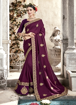 Burgundy embroidered fancy fabric saree with blouse