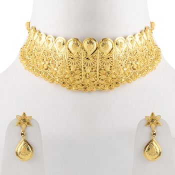 Gold Plated Adjustable Traditional Jewellery Choker Set For women girl